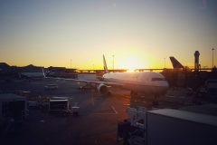 Sunset at Chicago O'Hare.